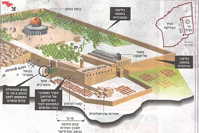 Diagram of the Temple Mount as it is today showing the areas of collapse and the bulges and the area of the latest collapse at the Western Wall. The Western Wall is at the front left.