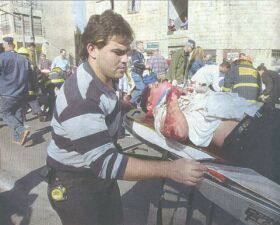 One of the wounded being evacuated to hospital in Haifa